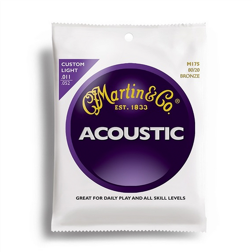 Martin M175 80/20 Custom Light .011-.052 Bronze Acoustic Guitar Strings Set